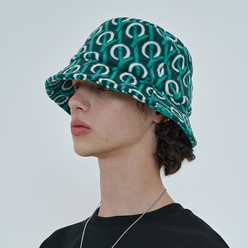 MONOGRAM BUCKET HAT-GREEN