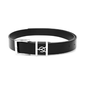 SQUARE BUCKLE LOGO BELT-BLACK