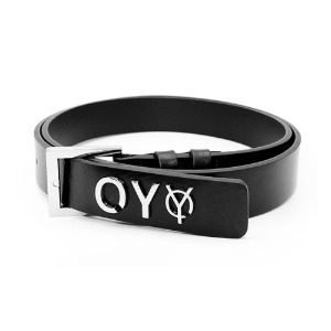 METAL LOGO BELT-BLACK
