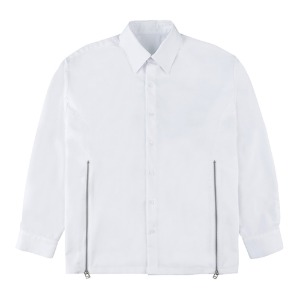 CUTTING ZIPPER SHIRTS-WHITE