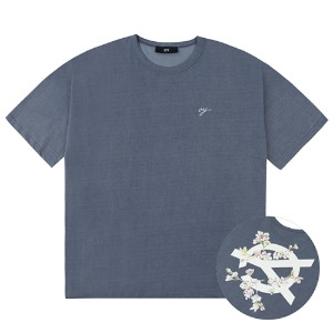PIGMENT CHERRY BLOSSOMS LOGO T-DUSTY BLUE