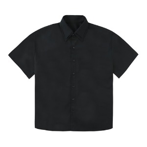 DOUBLE COLLAR HALF SHIRTS-BLACK[5/18 예약배송]