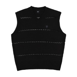 NET STRIPE LOGO KNIT VEST-BLACK