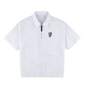 NYLON ANORAK ZIPPER SHIRTS-WHITE