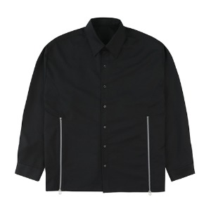 CUTTING ZIPPER SHIRTS-BLACK