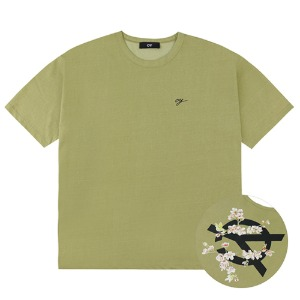 PIGMENT CHERRY BLOSSOMS LOGO T-DARK LIME